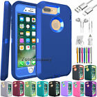 For iPhone 7 8 Plus Case Protective Hybrid Shockproof Rubber Cover + Accessories