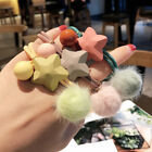 Women Acrylic Star Beaded Knotted Scrunchie Plush Ball Hair Rope Rubber Band New