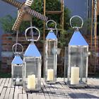 Modern Sturdy Silver Chrome Metal Candle Holder Floor Lantern Glass Stainless UK