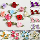 100Pcs Mini Satin Ribbon Rose Flowers Leaf Wedding Party Decor Small Sewing DIY