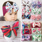 Baby Big Bowknot Printed Infant Newborn Top Knotted Soft Headwrap Wide Headband