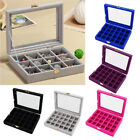 24grids Fashion Velvet Jewelry Box Lady Makeup Pins Eatting Pendants Storage
