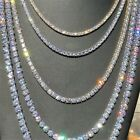 4 Prong Crystal Diamond Gold Silver 1 Row Mens Tennis Necklace Chain 9-30'' Usa