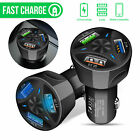 3-Port USB Car Charger Adapter QC 3.0 Quick Fast Charging For iPhone Samsung IOS
