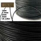 Waxed Polyester Cord Black 1/1.5/2mm Necklace Jewellery Rope String Thread