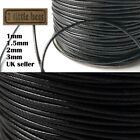 Waxed+Polyester+Cord+Black+1%2F1.5%2F2mm+Necklace+Jewellery+Rope+String+Thread+