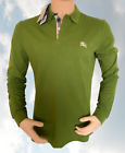 Burberry Brit Men's Long-Sleeve Pique Polo Shirt Check Placket S M L XL XXL XXXL