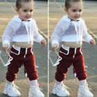 US 3PCS Toddler Baby Girl Clothes Hooded Crop Tops Sweatpants Outfit Tracksuit