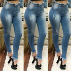 Womens High Waist Ripped Jeans Skinny Stretch Denim Pants Frill Pencil Trousers