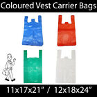 Coloured Vest Carrier Bags BLUE GREEN RED WHITE STRONG Shopping Groceries Market