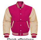 Varsity Bomber Letterman Baseball Hot Pink Wool & Cream Leather Sleeves jacket