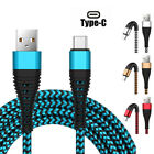 US 1~3M Braided Type C Fast Charger Cable Micro USB IOS phone Cord Power Charger