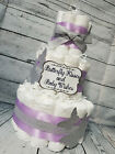 3 Tier Diaper Cake - Butterfly Kisses and Baby Wishes Theme Purple Silver