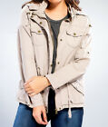 Womens Utility Jacket Hooded Military Style Cinch Waist Zip Up Fashion New