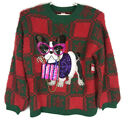 Ugly Christmas Womens Sweater Size Large or XL Red Dog Glasses Red Green Bulldog