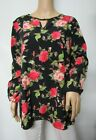 Black & Red Floral Printed Woven Long Sleeve Hi-Lo Keyhole Top Size XS~3X