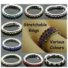 Women Ladies Rings Band Stretchable Stretchy Rhinestone Diamante Czech Finger Uk