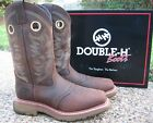 "NEW Men's Double-H Buster, Brown Leather 12"" Soft Toe Roper Work Boots DH5138"