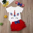 My 1st 4th of July Baby Girl Tops Romper+Tulle Dress Skirt Headband Outfit 0-24M