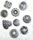 New 5-pack Metal Shank Buttons Silver Color Flower Daisy Heart Victorian Square