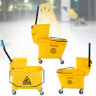 Commercial Mop Bucket Side Press Wringer on Wheels Cleaning 22/26/34Quart Yellow