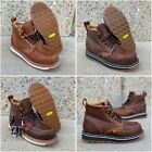 "Men's 6"" Soft Moc Toe Safety Oil Slip Resistant Waterproof Leather Work Boots#61"