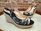 Isaac Mizrahi India Grey Camo Floral Slingback Wedge Sandal NEW
