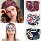 Women Boho Wide Cotton Stretch Headband Turban Sports Yoga Knotted Headwrap New