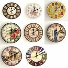 Retro Colorful Vintage Wooden Wall Clock Large Shabby Chic Rustic Kitchen Decor