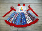 Kyпить NEW Boutique Unicorn 4th of July Patriotic Girls Sleeveless Ruffle Twirl Dress на еВаy.соm