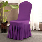 Pleated Skirt Stretch Chair Cover Hotel Wedding Dining Room Slipcover Decor
