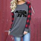 Women's Mama Bear letter printed round neck Cotton Loose Long Sleeve T-shirt