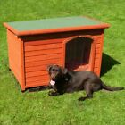 Pinewood Wooden Flat-Roofed Dog Kennel Weatherproof House Open Roof S/M/L