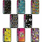 Official Looney Tunes Patterns Black Hybrid Glass Back Case For Iphone Phones