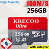 KRECOO 256GB Micro Memory Card 100MB/S 4K Class10 Flash TF Card with Adapter US