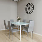 Dining Rectangle Table & 6 PU Chairs Furniture Set Kitchen Living Dinning Room