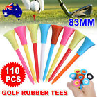 110PCS 83mm Golf Tees Plastic With Rubber and Plastic Cushion Top Multi Colors
