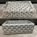 CLEARANCE- COFFEE TABLE, Silver, Crushed Velvet OR LEATHER- MEGA SALE