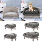 Wicker Pet Bed Raised Cat Dog Sofa Couch w/ Cushion Mat Blanket Fluffy Mattress