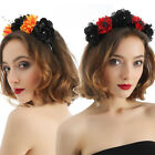 Womens Goth Rose Flower Crown Hair Garland Festival Halloween Headband Headpiece