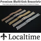 Premium 7-Row Solid Link/ELs Full-Mirror Steel Watch Bracelets 18-24mm 5 Colours