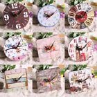 Vintage Rustic Wooden Wall Clock Shabby Chic Retro Timer Home Kitchen Decor