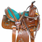 12 13 14 WESTERN PLEASURE TRAIL BARREL RACING HORSE LEATHER SADDLE TACK PACKAGE