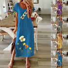 Plus Size Women Daisy Printed Long Dress Loose Swing Short Sleeve Sundress New