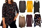 New Women Ladies Long Sleeve Swing Midi Shirt Flared Skater Dress Top Plus Size