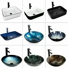 Bathroom Vessel Sink Countertop Hand Wash Bowl Basin Ceramic Glass Faucet Drain