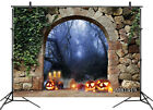 10x8FT Halloween Pumpkins Arch Gate Foggy Woods Vinyl Backdrop Photo Background