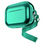 Electroplated Chrome Soft TPU Case w/Strap Shockproof Cover for AirPods 2 / Pro