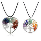 New Tree Of Life Necklace Crystal Healing Stone Pendant Rainbow Spiritual Chakra