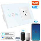 2-IN-1 WiFi Socket Smart Touch Light Switch Glass Panel US Plug Wall Outlet